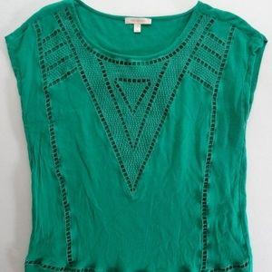 Skies Are Blue M Reginald Shirt Green Crochet